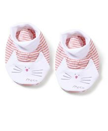 Simply Baby Booties Stripes Print - Peach