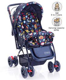 babyhug cosy cosmo stroller animal print navy blue