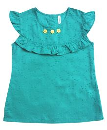 Campana Frill Sleeves Plain Top Ruffle Detailing - Green
