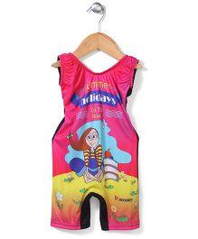 Rovars Legged Swimsuit Holidays Print - Multicolour