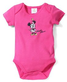 Fox Baby Half Sleeves Onesies Minnie Mouse Print - Fuchsia Pink