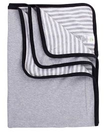 Fox Baby Blanket Mickey Print - Grey & Black