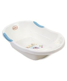 Babyhug Baby Bath Tub Cartoon Print - White And Blue