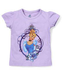 Disney by Babyhug Short Sleeves Princess Print Top - Light Purple