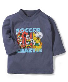 Disney by Babyhug Full Sleeves Mickey Soccer Crazy Print T-Shirt - Dark Grey