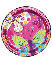 Wanna Party Butterfly Sparkle Paper Plates - Pack of 8