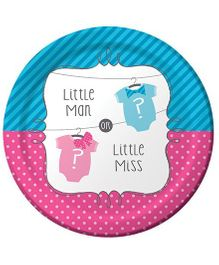 Wanna Party Little Man Little Miss Lunch Plates - Pack of 8