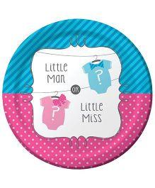 Wanna Party Little Man Little Miss Dessert Plates - Pack of 8