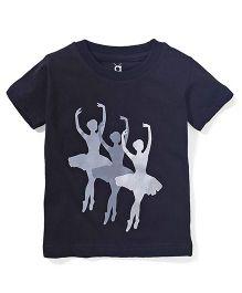 Anthill Round Neck Dancing Diva Print T-Shirt - Black