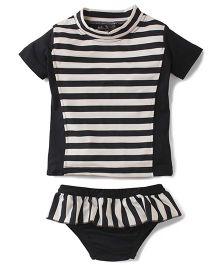 Anthill Half Sleeves Swim Suit Stripes Print - Black & White