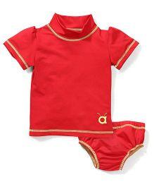Anthill Half Sleeves Swim Wear Set - Red