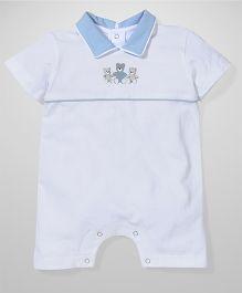 Anthill Collar Neck Romper Teddy Print - White & Sky Blue