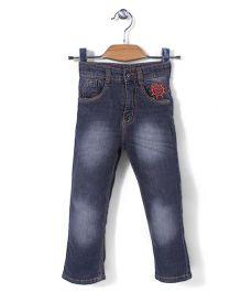 Babyhug Full Length Jeans Sun Embroidery - Blue