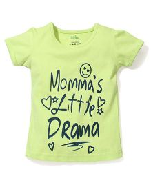 Babyhug Half Sleeves T-Shirt Little Drama Print - Green
