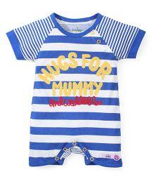 Babyhug Half Sleeves Striped Romper - Blue