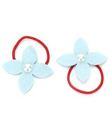 Chotee Pinwheel Pair of Rubber Bands - Red & Aqua Blue