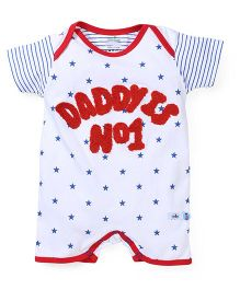 Babyhug Half Sleeves Romper Star Print - White Red