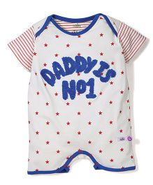 Babyhug Half Sleeves Romper Star Print - White Blue
