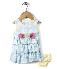 Little Wacoal Flower Print Dress With Bloomer - Aqua Blue