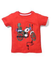Babyhug Half Sleeves T-Shirt Motorcycle Print - Red