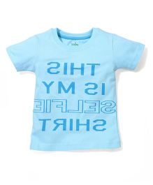 Babyhug Half Sleeves T-Shirt Caption Print - Aqua