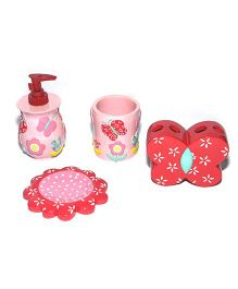 Seven Seas Bathroom Set Butterfly Design Pink And Red - 4 Pieces