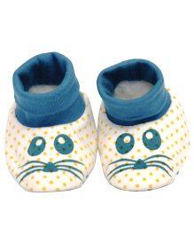 Pranava Cute Fabric Mouse Print Booties  - Blue & White