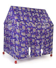 Lovely Play Tent House With Wheels Cat Print - Blue
