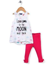 Little Wonder Moon Print Leggings And Top Set - White & Pink