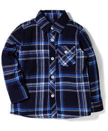 Little Wonder Checks Print Full Sleeves Shirt - Blue