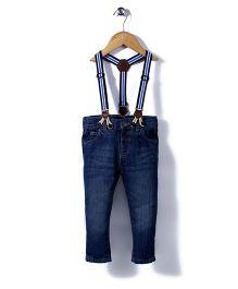 Little Wonder Stylish Denim Pants With Suspender Belt - Blue