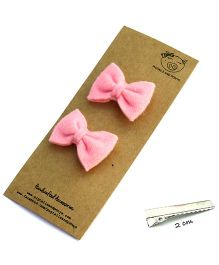 Pigtails And Ponys Felt Bow Hair Clips - Baby Pink