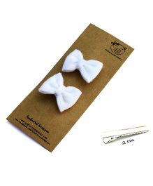 Pigtails And Ponys Felt Bow Hair Clips - White