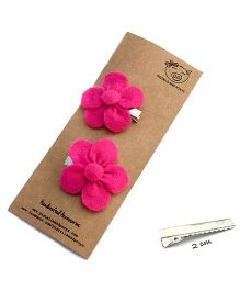 Pigtails And Ponys Flower Hair Clips - Fuchsia