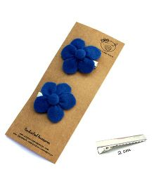 Pigtails And Ponys Flower Hair Clips - Blue