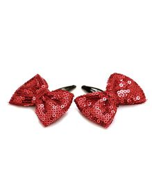 Pigtails And Ponys Sequin Bow Hair Clip - Maroon