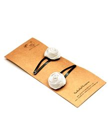 Pigtails And Ponys Rose Snap Clips - White