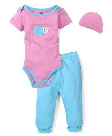 Dreamcatcher Sheep Print Onesie, Legging And Cap Set - Pink & Blue