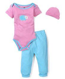 Dreamcatcher Sheep Print Onesie, Legging And Cap Set - Pink & Blue
