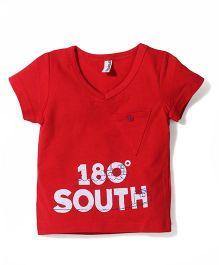 Baobaoshu 180 South Print T-Shirt - Red