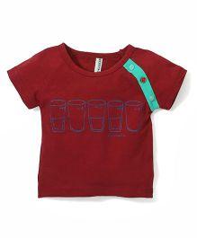 Baobaoshu Milk Print T-Shirt - Maroon