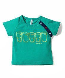 Baobaoshu Milk Print T-Shirt - Aqua Green