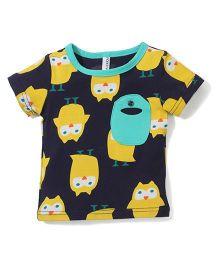 Baobaoshu Owl Print T-Shirt - Navy Blue