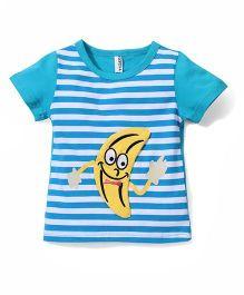 Baobaoshu Banana Print Striped T-Shirt - Blue