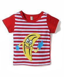 Baobaoshu Banana Print Striped T-Shirt - Red