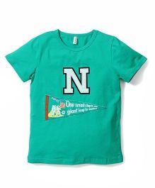 Baobaoshu N Print T-Shirt - Aqua Green