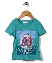 Candy Rush 93 Brown Print Top - Blue