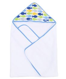 Little Wacoal Hooded Towel And Wash Cloth With Fish Print - White