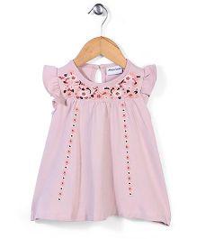 Little Wonder Half Sleeves Dress - Salmon