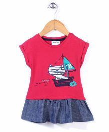 Little Wonder Cat Print Dress - Red